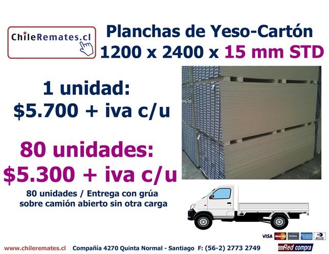 Plancha yeso cart n 15mm std 1 2 x 2 4 mt - Planchas de yeso ...