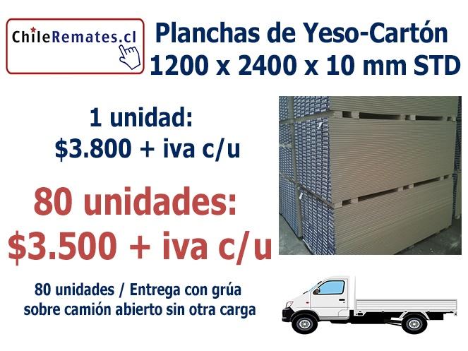 Plancha yeso cart n 10mm std 1 2 x 2 4 mt for Planchas de yeso carton